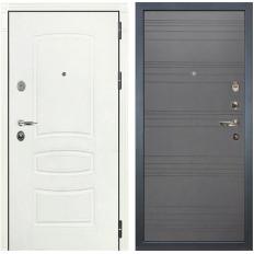 Входная дверь Лекс Легион 3К Шагрень белая / Графит софт (панель №70)
