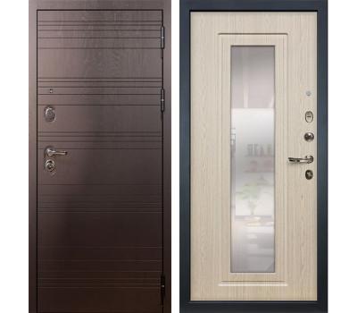 Входная стальная дверь Лекс Легион 3К с Зеркалом Дуб беленый (панель №23)