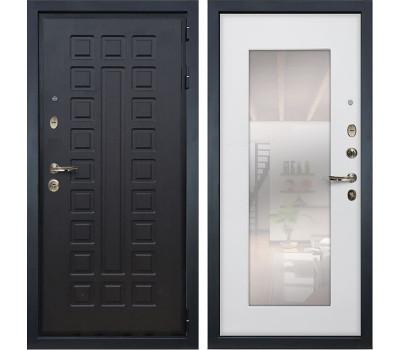 Входная металлическая дверь Лекс Гладиатор 3К с Зеркалом Ясень белый (панель №37)