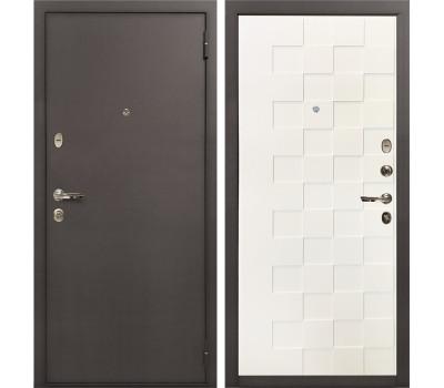 Входная стальная дверь Лекс 1А Белая шагрень Квадро (панель №71)