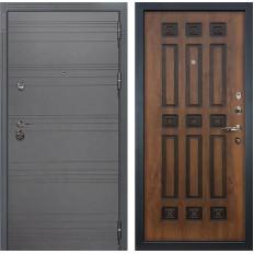 Входная дверь Лекс Сенатор 3К Софт графит / Голден патина черная (панель №33)