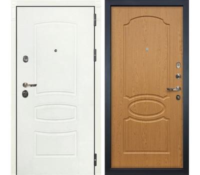 Входная металлическая дверь Лекс Сенатор 3К Шагрень белая / Дуб натуральный (панель №15)