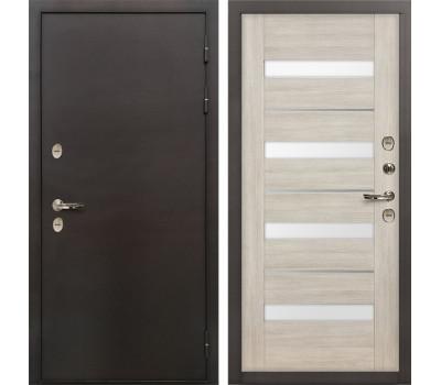 Входная уличная дверь с терморазрывом Лекс Термо Сибирь 3К Сицилио Ясень кремовый (панель №48)
