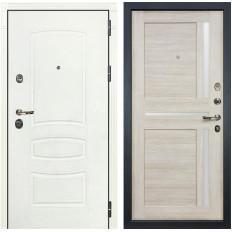 Входная дверь Лекс Сенатор 3К Шагрень белая / Баджио Ясень кремовый (панель №49)