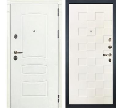 Входная металлическая дверь Лекс Сенатор 3К Шагрень белая / Шагрень белая Квадро (панель №71)