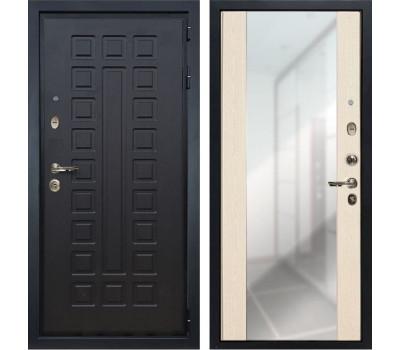 Входная металлическая дверь Лекс Гладиатор 3К Стиль с Зеркалом Дуб беленый (панель №45)