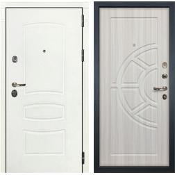 Входная металлическая дверь Лекс Сенатор 3К Шагрень белая / Сандал белый (панель №44)