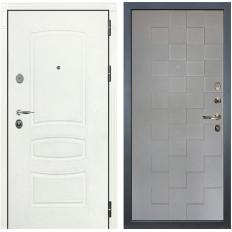 Входная дверь Лекс Легион 3К Шагрень белая / Графит софт Квадро (панель №72)