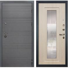 Входная дверь Лекс Сенатор 3К Софт графит / Дуб беленый с Зеркалом (панель №23)