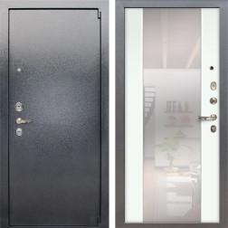 Входная стальная дверь Лекс 3 Барк Стиль с Зеркалом (Серый букле / Ясень белый) панель №61