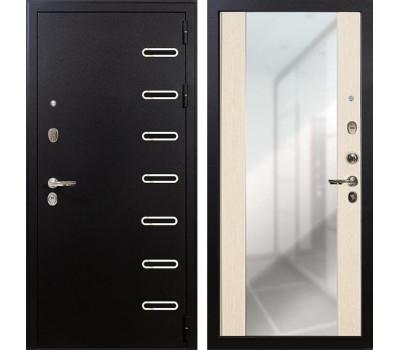 Входная металлическая дверь Лекс Витязь Стиль с Зеркалом Дуб беленый (панель №45)