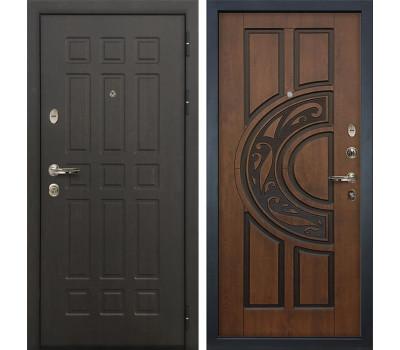 Входная металлическая дверь Лекс Сенатор 8 Голден патина черная (панель №27)
