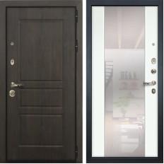 Входная дверь Лекс Сенатор Винорит Стиль с Зеркалом Ясень белый (панель №61)