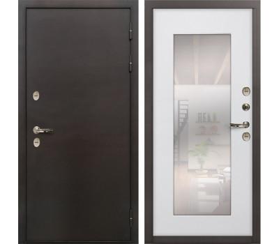 Входная уличная дверь с терморазрывом Лекс Термо Сибирь 3К с зеркалом Ясень белый (панель №37)