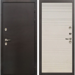Входная уличная дверь с терморазрывом Лекс Термо Сибирь 3К Дуб фактурный кремовый (панель №63)
