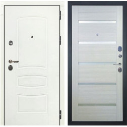 Входная металлическая дверь Лекс Сенатор 3К Шагрень белая / Клеопатра-2 Дуб беленый (панель №58)