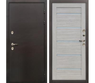 Входная уличная дверь с терморазрывом Лекс Термо Сибирь 3К Клеопатра-2 Ясень кремовый (панель №66)