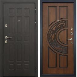 Входная дверь Лекс Сенатор 8 Голден патина черная (панель №27)