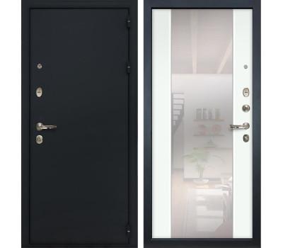 Входная стальная дверь Лекс 2 Рим Стиль с зеркалом Ясень белый (панель №61)