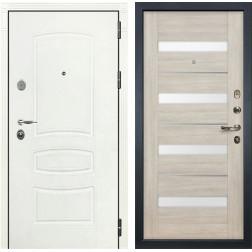 Входная стальная дверь Лекс Легион 3К Шагрень белая / Сицилио Ясень кремовый (панель №48)
