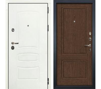 Входная металлическая дверь Лекс Сенатор 3К Шагрень белая / Энигма-1 Орех (панель №57)