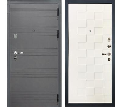 Входная стальная дверь Лекс Легион 3К Софт графит / Белая шагрень Квадро (панель №71)