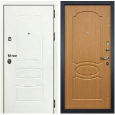 Входная дверь Лекс Сенатор 3К Шагрень белая / Дуб натуральный (панель №15)