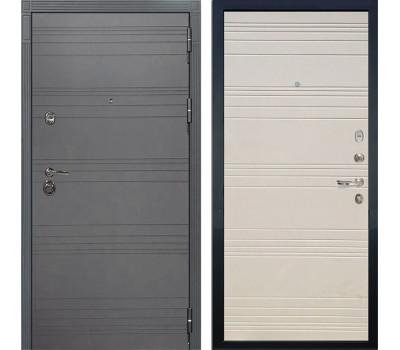 Входная металлическая дверь Лекс Сенатор 3К Софт графит / Дуб фактурный кремовый (панель №63)