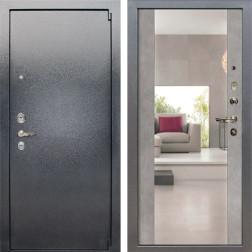 Входная стальная дверь Лекс 3 Барк Стиль с Зеркалом (Серый букле / Бетон серый) панель №102