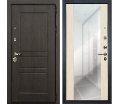 Входная стальная дверь Лекс Сенатор Винорит Стиль с Зеркалом Дуб беленый (панель №45)