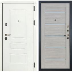 Входная металлическая дверь Лекс Сенатор 3К Шагрень белая / Клеопатра-2 Ясень кремовый (панель №66)