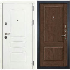 Входная дверь Лекс Сенатор 3К Шагрень белая / Энигма-1 Орех (панель №57)