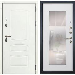 Входная дверь Лекс Сенатор 3К Шагрень белая / Ясень белый с Зеркалом (панель №37)