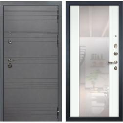 Входная дверь Лекс Сенатор 3К Софт графит / Ясень белый Стиль с зеркалом (панель №61)