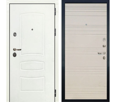Входная металлическая дверь Лекс Сенатор 3К Шагрень белая / Дуб фактурный кремовый (панель №63)