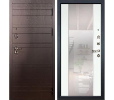 Входная стальная дверь Лекс Легион 3К Стиль с Зеркалом Ясень белый (панель №61)