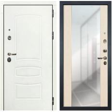 Входная дверь Лекс Сенатор 3К Шагрень белая / Дуб беленый Стиль с зеркалом (панель №45)