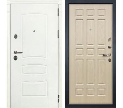 Входная металлическая дверь Лекс Сенатор 3К Шагрень белая / Дуб беленый (панель №28)