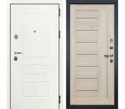 Входная стальная дверь Лекс Легион 3К Шагрень белая / Верджиния Ясень кремовый (панель №40)