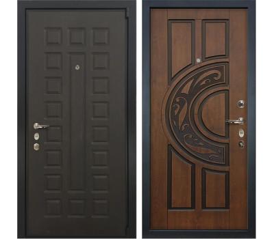 Входная стальная дверь Лекс 4А Неаполь Mottura Винорит Голден патина черная (панель №27)