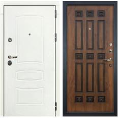 Входная дверь Лекс Сенатор 3К Шагрень белая / Голден патина черная (панель №33)