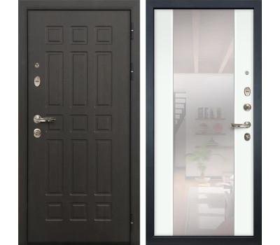 Входная металлическая дверь Лекс Сенатор 8 Стиль с Зеркалом Ясень белый (панель №61)