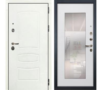 Входная металлическая дверь Лекс Сенатор 3К Шагрень белая / Ясень белый с Зеркалом (панель №37)