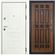 Входная дверь Лекс Легион 3К Шагрень белая / Голден патина черная (панель №33)