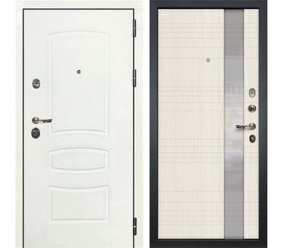 Входная металлическая дверь Лекс Сенатор 3К Шагрень белая / Новита Дуб беленый (панель №52)