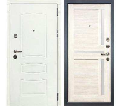 Входная металлическая дверь Лекс Сенатор 3К Шагрень белая / Баджио Дуб беленый (панель №47)