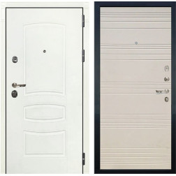 Входная дверь Лекс Сенатор 3К Шагрень белая / Дуб фактурный кремовый (панель №63)