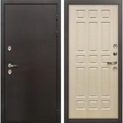 Входная дверь с терморазрывом Лекс Термо Сибирь 3К Дуб беленый (панель №28)