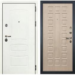 Входная металлическая дверь Лекс Сенатор 3К Шагрень белая / Дуб беленый (панель №20)