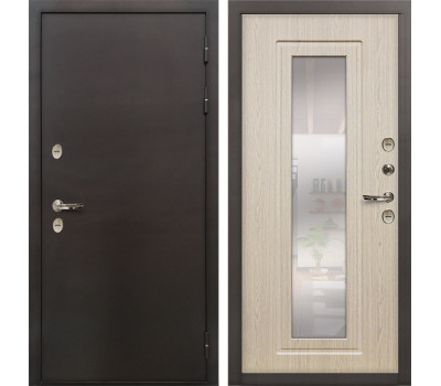 Входная уличная дверь с терморазрывом Лекс Термо Сибирь 3К с зеркалом Дуб беленый (панель №23)